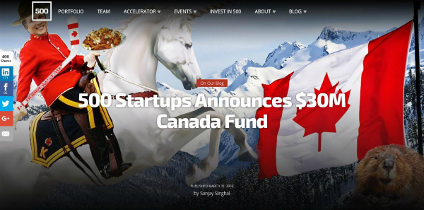 500 Startups Canada Announces $15 Million First Close (of
